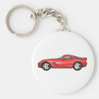 Viper Hard-Top Muscle Car: Red Finish Keychain