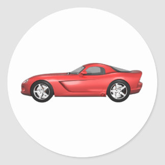 Viper Hard-Top Muscle Car: Red Finish Round Sticker