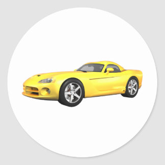 Viper Hard-Top Muscle Car: Yellow Finish: Classic Round Sticker