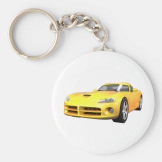 Viper Hard-Top Muscle Car: Yellow Finish: Keychain