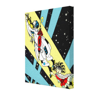 Viperetta Flies to the Moon Stretched Canvas Print