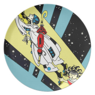 Viperetta Flies to the Moon Dinner Plate