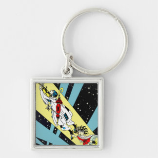 Viperetta Flies to the Moon Silver-Colored Square Keychain