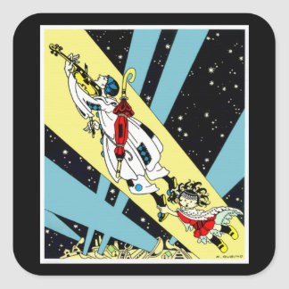 Viperetta Flies to the Moon Square Sticker