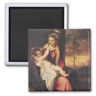Virgen con el niño en la puesta del sol, 1560 imán cuadrado