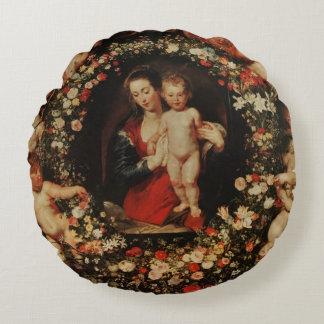 Virgen con una guirnalda de las flores, c.1618-20 cojín redondo