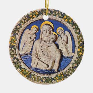 VIRGEN CON zafiro azul redondo del NIÑO Y de los Á Ornamente De Reyes