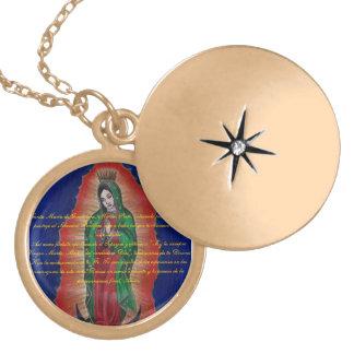 Virgen de Guadalupe Oracion Medalion Round Locket Necklace