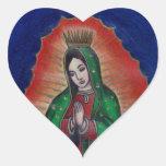Virgen de Guadalupe Pegatinas De Corazon