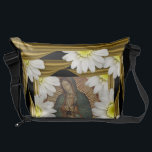 """Virgen de Guadalupe (with daisies) Messenger Bag<br><div class=""""desc"""">&#169;2012 c-i-e-l-o™ All Rights Reserved.  www.c-i-e-l-o.com  *** you can customize the background color of the design ***  *** you can select CUSTOMIZE to change the size to MINI,  MEDIUM,  or LARGE bag ***</div>"""