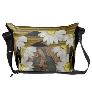 Virgen de Guadalupe (with daisies) Messenger Bag