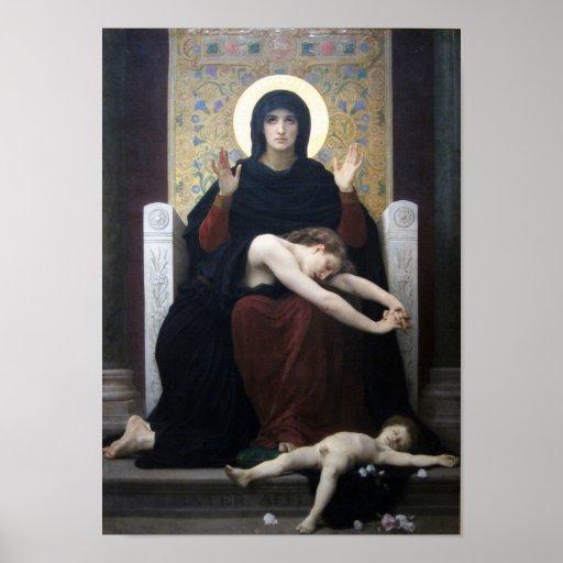 Virgen de la consolación por Bouguereau Poster