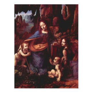 Virgen de las rocas de Leonardo da Vinci Postal