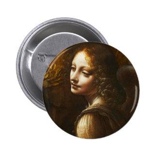 Virgen de Leonardo da Vinci del ángel de las rocas Pin Redondo De 2 Pulgadas