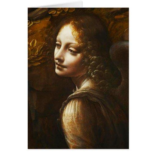 Virgen de Leonardo da Vinci del ángel de las rocas Tarjeta De Felicitación