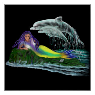 Virgen de mar con delfines posters