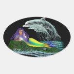Virgen de mar con delfines pegatina ovalada