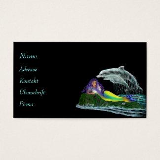 Virgen de mar con delfines tarjetas de visita