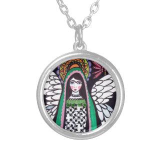 Virgen del ángel del arte de Guadalupe por el brez Colgante Redondo