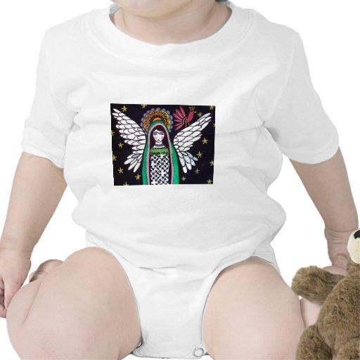 Virgen del ángel del arte de Guadalupe por el brez Traje De Bebé