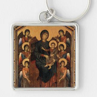 'Virgen Enthroned con los ángeles Llavero Cuadrado Plateado