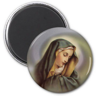 Virgen María 2 Imán Redondo 5 Cm