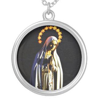 Virgen María bendecido Collar Plateado