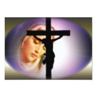 Virgen María bendecido en la sombra de la cruz Invitacion Personal