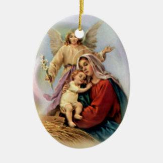 Virgen María bendecido - madre de dios Adorno Navideño Ovalado De Cerámica