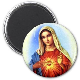 Virgen María bendecido - madre de dios Imán Redondo 5 Cm