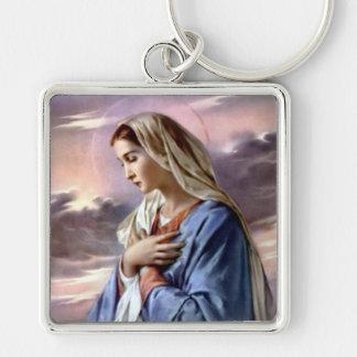 Virgen María bendecido - madre de dios Llavero Cuadrado Plateado