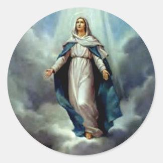 Virgen María bendecido - madre de dios Etiqueta Redonda