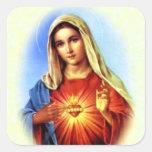 Virgen María bendecido - madre de dios Colcomanias Cuadradas Personalizadas