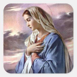Virgen María bendecido - madre de dios Pegatina Cuadrada