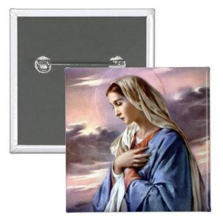Virgen María bendecido - madre de dios Pin Cuadrado