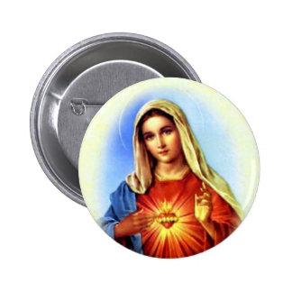 Virgen María bendecido - madre de dios Pin Redondo De 2 Pulgadas