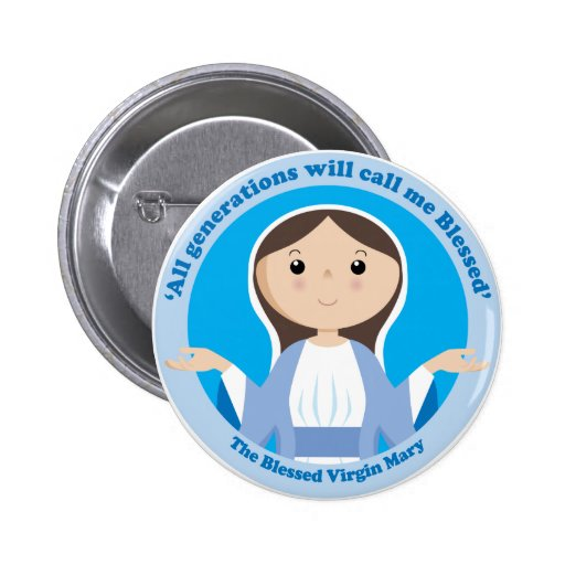 Virgen María bendecido Pin Redondo 5 Cm
