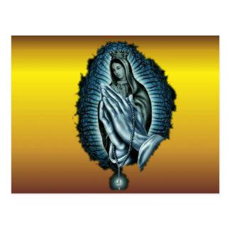 Virgen María bendecido rezo púrpura Postales