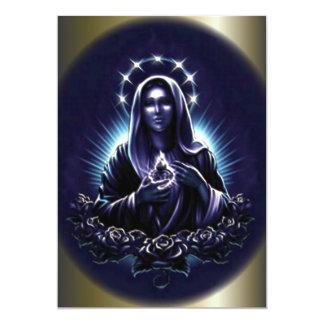 Virgen María bendecido y rosas púrpuras Anuncio Personalizado