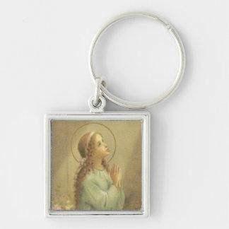 Virgen María como chica joven que ruega Llavero Cuadrado Plateado