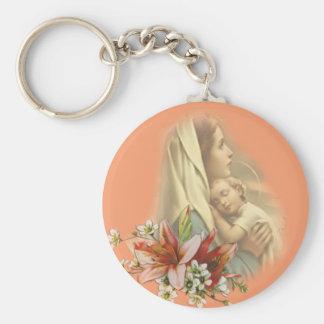 Virgen María con dormir de Cristo Jesús Llavero Redondo Tipo Pin