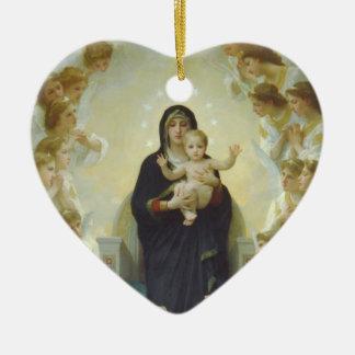 Virgen María con el bebé Jesús y ángeles Adornos