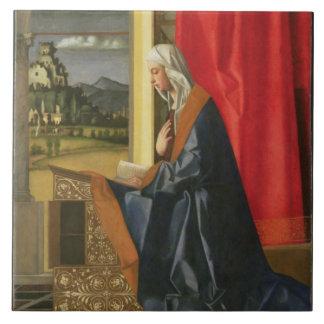 Virgen María, de la díptica del anuncio (aceite en Azulejo Cuadrado Grande