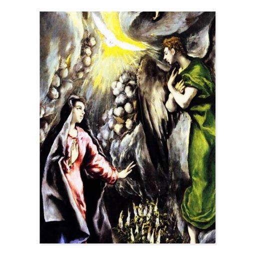Virgen María del anuncio de El Greco Tarjetas Postales