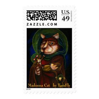 Virgen María del gato de Madonna y franqueo santo