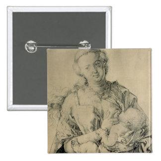 Virgen María que amamanta al niño de Cristo, 1512 Pin Cuadrada 5 Cm