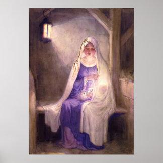 Virgen María que detiene al bebé Jesús 1912 Póster