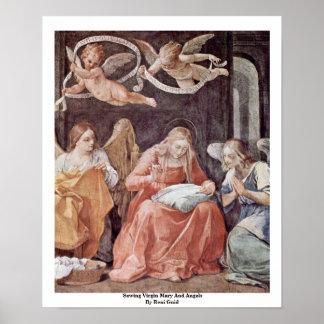Virgen María y ángeles de costura de Reni Guido Póster