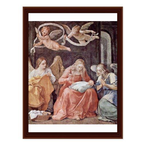 Virgen María y ángeles de costura de Reni Guido Tarjeta Postal