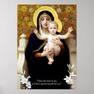 Virgen María y Jesucristo Poster